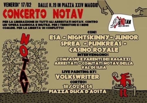 Concerto No Tav. Venerdì 17/2 ore 19 @ Piazza 24 Maggio. Corteo No Tav. Sabato 18/2, ore 14 @Stazione centrale, Mi
