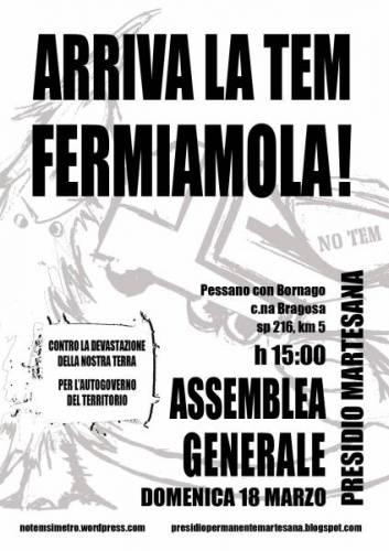 Domenica 18 marzo ore 15, assemblea generale@Presidio Martesana: Arriva la Tem, fermiamola!
