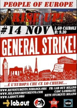 14 Novembre – General Strike – Mercoledì in diretta foto e video