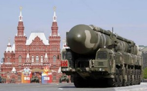 A mobile launcher with a Topol-M missile travels along the Red Square during a military parade in Moscow