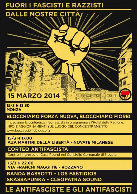 Milano 15.3.14 – La primavera nera bussa alle nostre porte