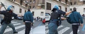foto-manifestante-colpito-da-poliziotto-alle-spalle