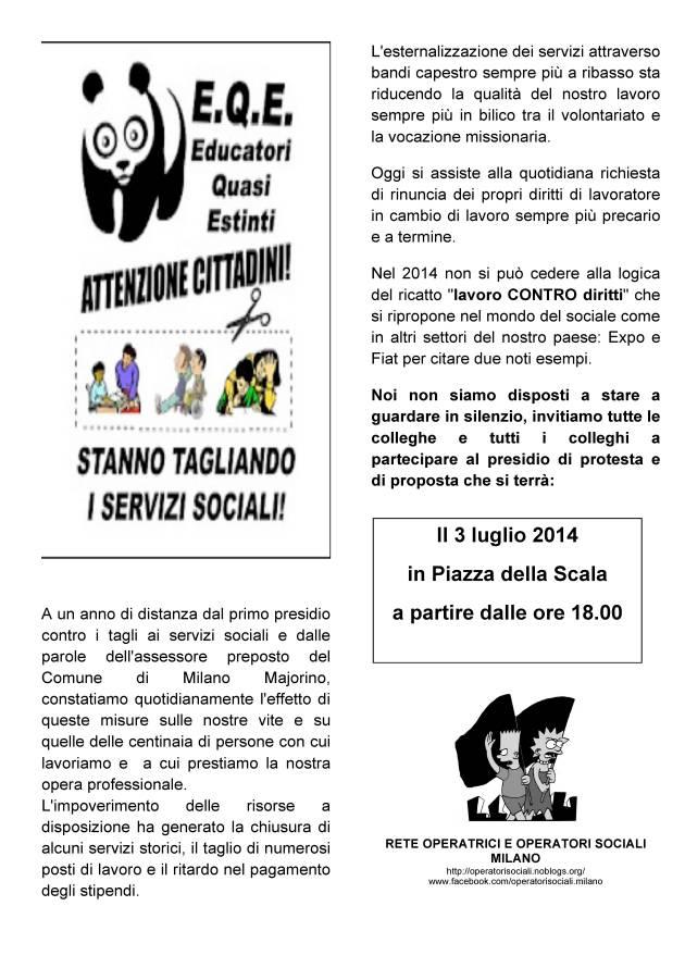 [DallaRete] Educatori (quasi estinti): 3 luglio, presidio in piazza Scala