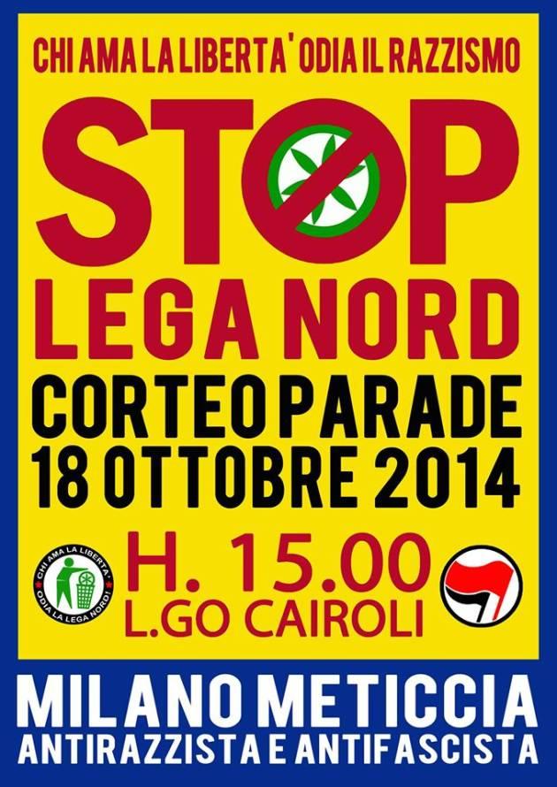[DallaRete] 18 Ottobre: #Stopinvasione di razzisti e fascisti. Milano ripudia il razzismo della Lega – H.15 corteo parade in Largo Cairoli