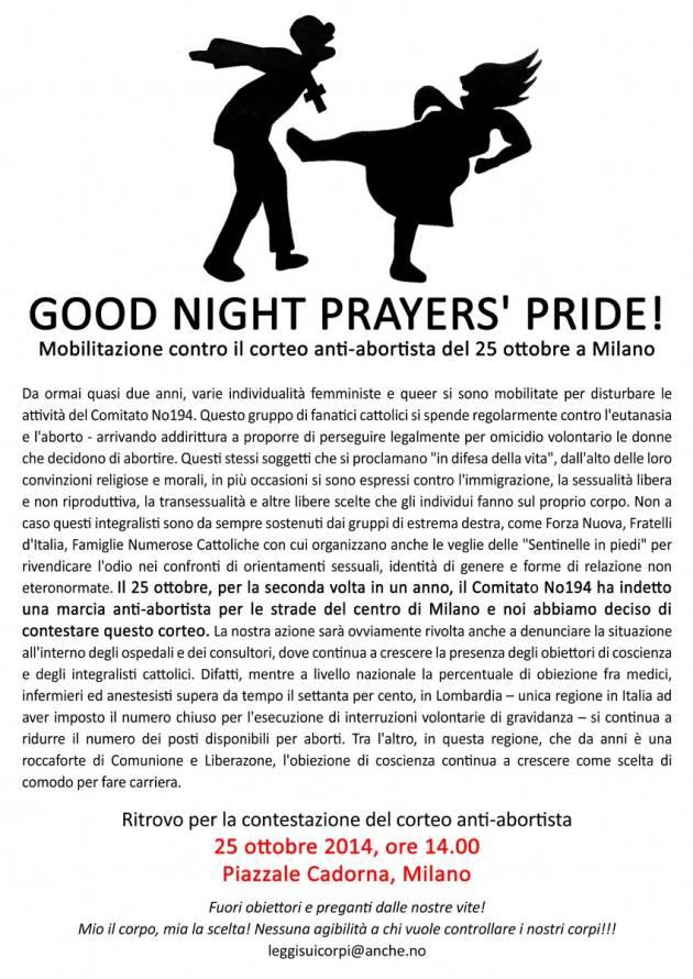 [DallaRete] Goodnight Prayers' Pride! Mobilitazione contro il corteo anti-abortista del 25 Ottobre