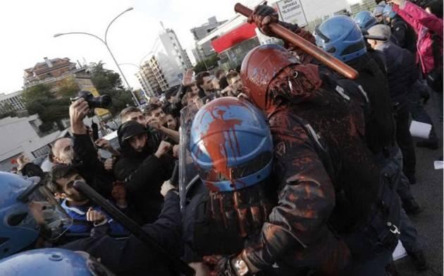 [DallaRete] Roma verso il #14n contestato Draghi, la polizia carica