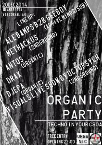 ORGANIC PARTY // Techno Diffusion // @CSOA Lambretta - SABATO 20/12