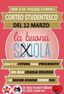 """12 Marzo corteo studentesco - """"La buona scuola siamo noi!"""" @ Milano"""