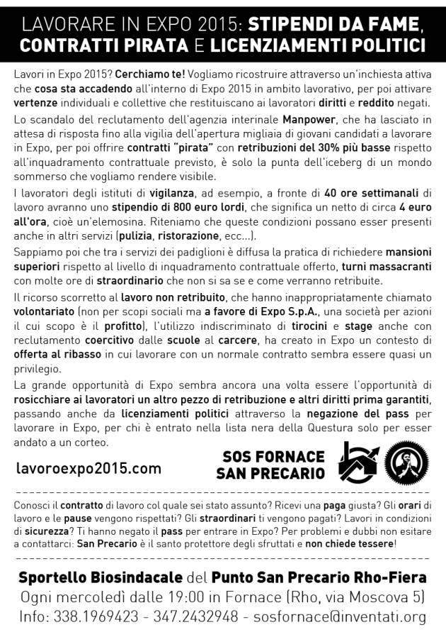 [DallaRete] Impedito dalla Polizia un volantinaggio sulle condizioni di lavoro inExpo