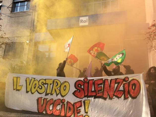 """Kurdistan – """"Il silenzio uccide. Rompiamo il silenzio!"""" – Blitz alla sede RAI di Milano"""