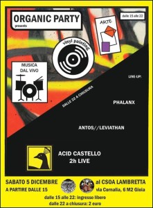 5/12 - Organic PArty Total Art - W// Acid Castello (2hrs live) @ Csoa Lambretta