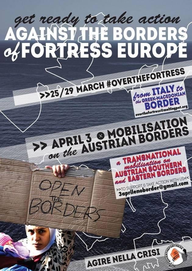 """[DallaRete] Contro i confini dell'Europa Fortezza: """"March #Overthefortress"""" in Grecia (25-29 Marzo) – mobilitazione domenica 3 Aprile sul confine tra Italia ed Austria"""
