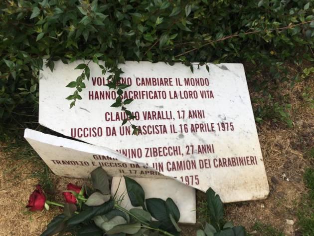 Distrutta la lapide per Claudio Varalli e Giannino Zibecchi
