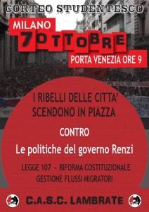 7 Ottobre corteo studentesco_No alle politiche del governo Renzi! @ Milano