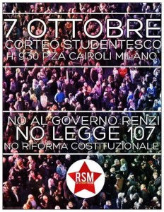 Corteo Studentesco || 7 Ottobre || Piazza Cairoli @ Milano
