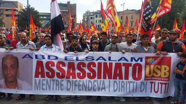 [DallaRete] Manifestazione USB dopo l'omicidio di Abd Elsalam – Oltre 7.000 in corteo a Piacenza