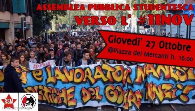 Assemblea pubblica studentesca 27/10 Piazza dei Mercanti