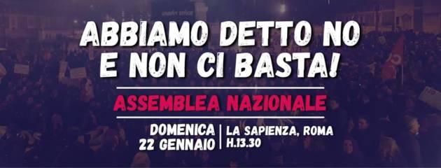 Abbiamo detto no e non ci basta! Assemblea nazionale il 22 Gennaio a Roma