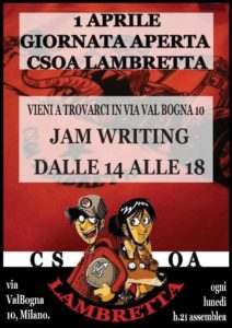 1 Aprile JAM WRITING E GIORNATA APERTA @Csoa Lambretta @ Csoa Lambretta