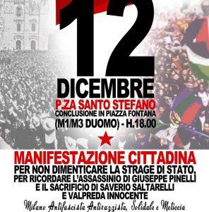 Per ricordare P.zza Fontana - 12/12/2017 - Corteo cittadino @ Milano