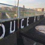 Scritta fascista sul Cavalcavia Bucari in Ortica