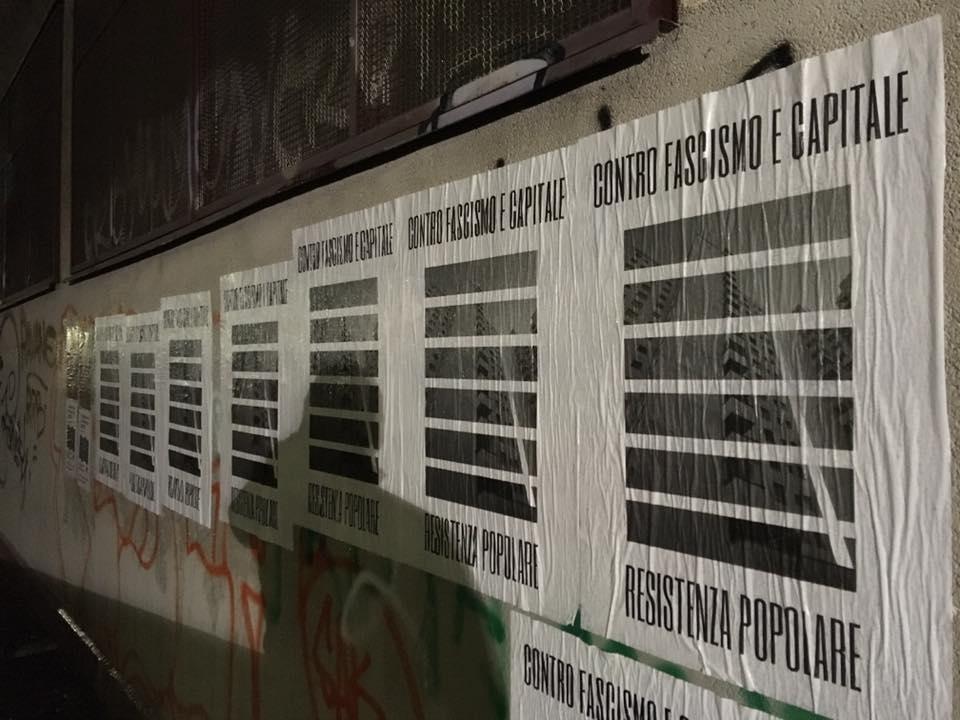 Attacchinaggio antifascista a Milano Sud