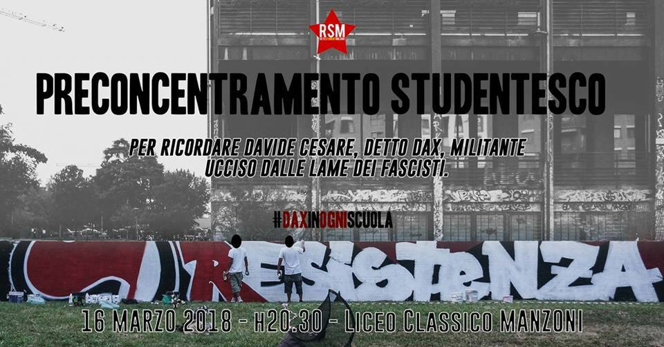Studenti – Pre-concentramento studentesco per Dax – 16/03