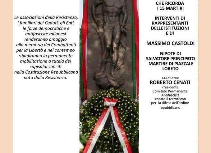 10 Agosto: 74° Anniversario Eccidio Di P.le Loreto – ore 21 @ Piazzale Loreto