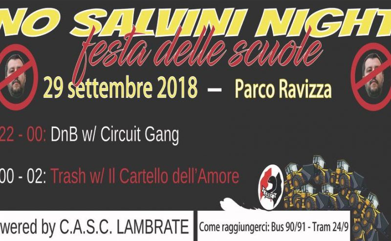 No Salvini Night 29/9 @ Parco Ravizza