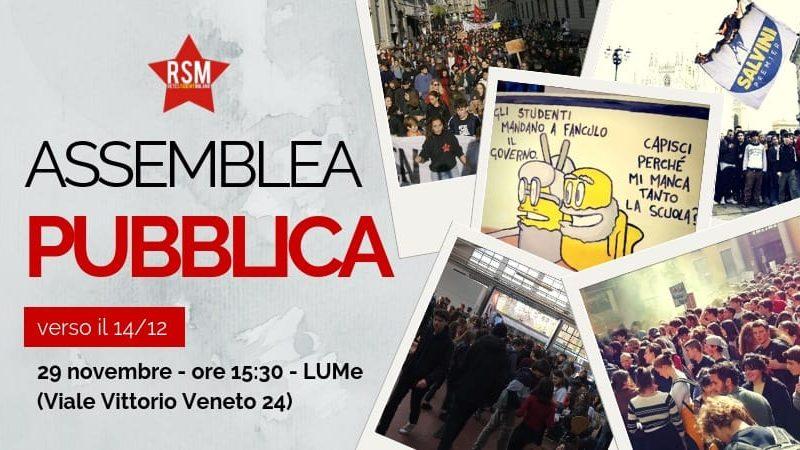 Assemblea pubblica verso il 14/12 – 29 Novembre @ LUMe