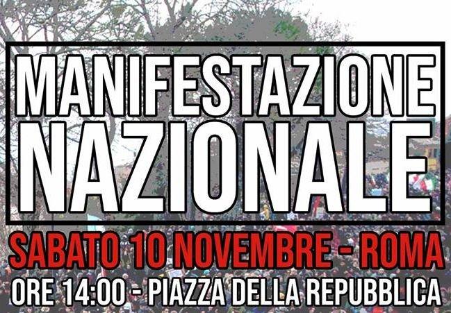 10 novembre, manifestazione nazionale – Uniti e solidali contro il governo, il razzismo e il decreto Salvini