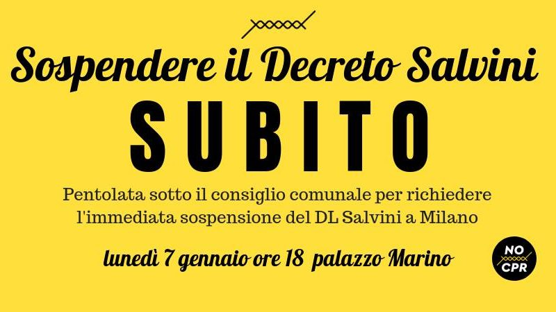 Sospendere il Decreto Salvini subito! Pentolata a Palazzo Marino – 7 gennaio