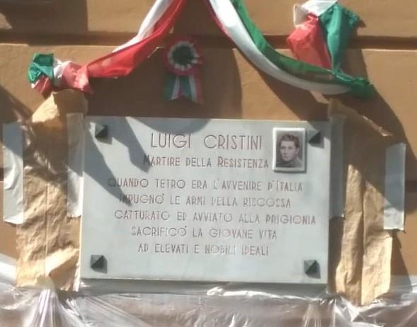 Ripristinata la lapide del partigiano Luigi Cristini