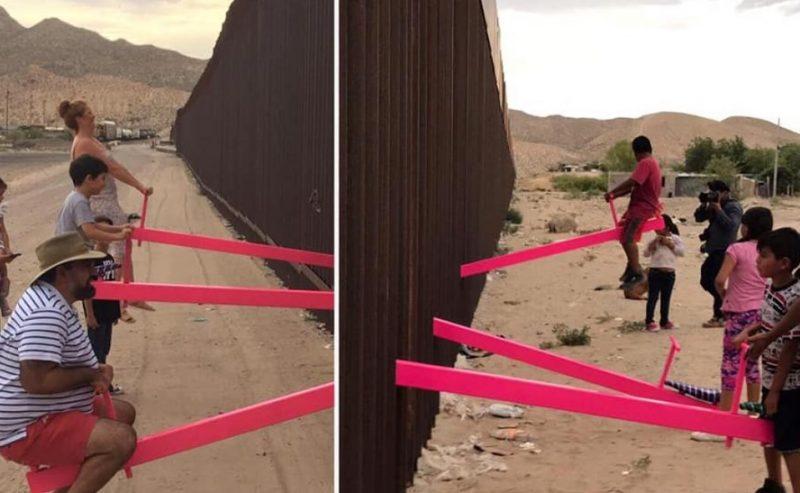 L'altalena contro il muro Messico-USA