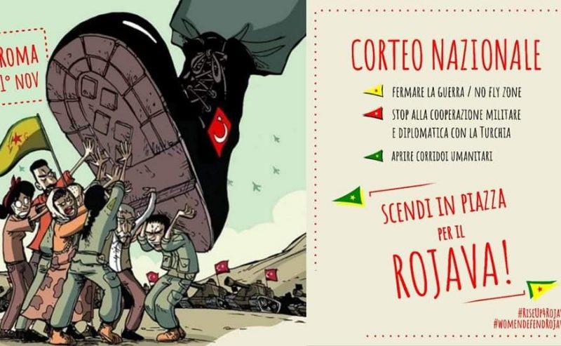 Manifestazione nazionale 1° novembre a Roma – Scendi in piazza per il Rojava!