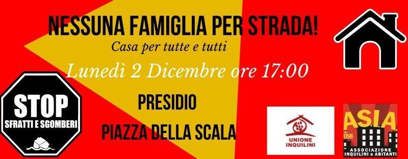2 dicembre: nessuna famiglia per strada! Presidio @ Palazzo Marino