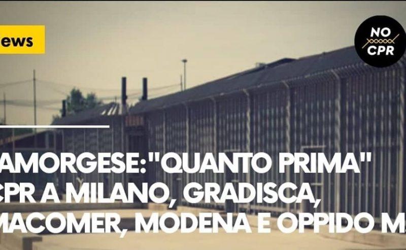 """Lamorgese: """"Quanto prima Cpr a Milano, Gradisca, Macomer, Modena e Oppido"""""""