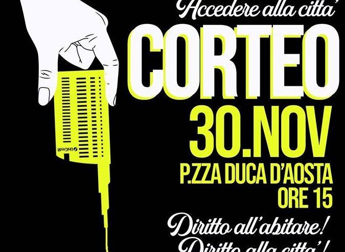 Corteo per il Diritto alla Città – 30 novembre @ piazza Duca d'Aosta