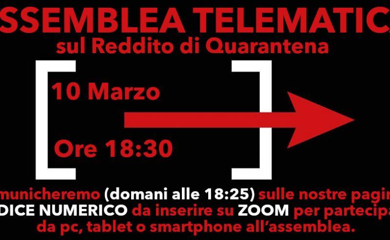 Assemblea Telematica | Pretendiamo il Reddito di Quarantena! – 10 marzo