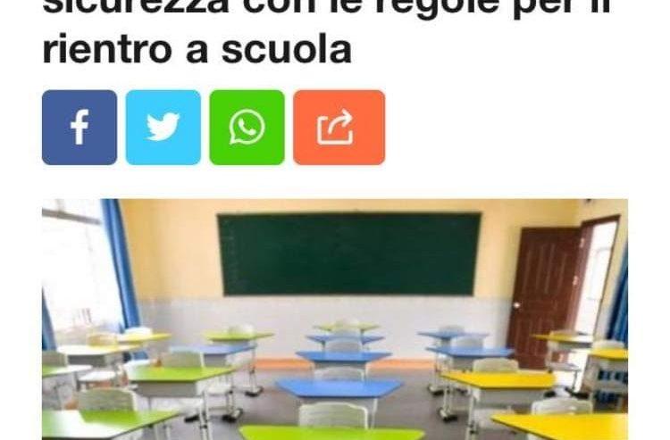 Covid, firmato il protocollo sicurezza con le regole per il rientro a scuola
