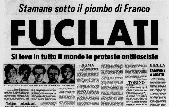 """Gli ultimi fucilati in Spagna da Franco e l'Italia """"internazionalista"""" del '75"""