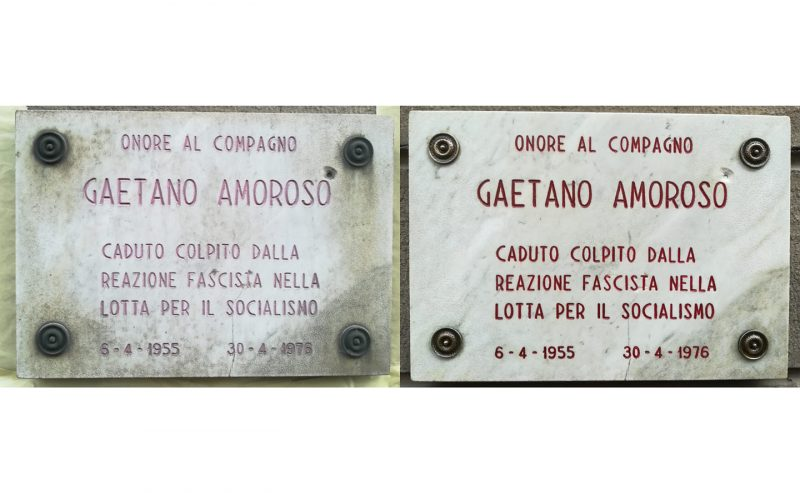 Restaurata la targa dedicata a Gaetano Amoroso, ucciso dai fascisti
