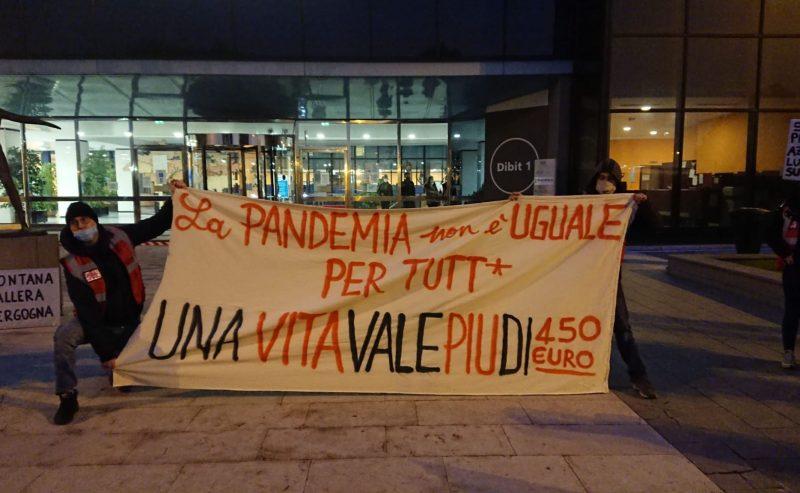Blitz gli uffici del San Raffaele – La pandemia non è uguale per tutti. Una vita vale più di 450 euro!