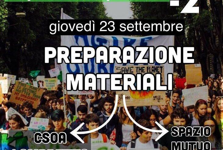 Preparazione materiale per lo sciopero per il clima – 23 settembre