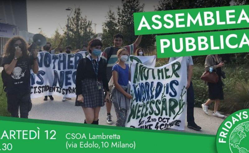 Assemblea pubblica di Fridays For Future Milano – 12 ottobre