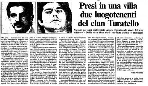 Arresti Turatello agosto 1984