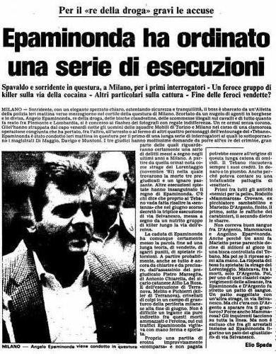 Arresto Epaminonda 28 settembre 1984