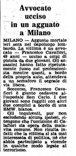 Omicidio Calafiori 29 novembre 1979