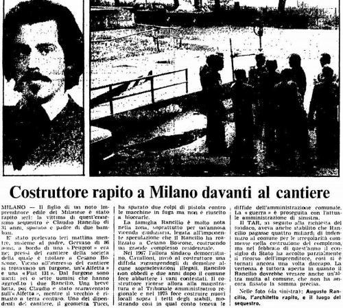 Sequestro Rancilio 2 ottobre 1978